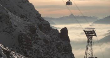 Auffahrt mit der Tiroler Zugspitzbahn